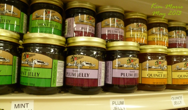 Photo of Jelly on a store shelf - with the plum in the middle.