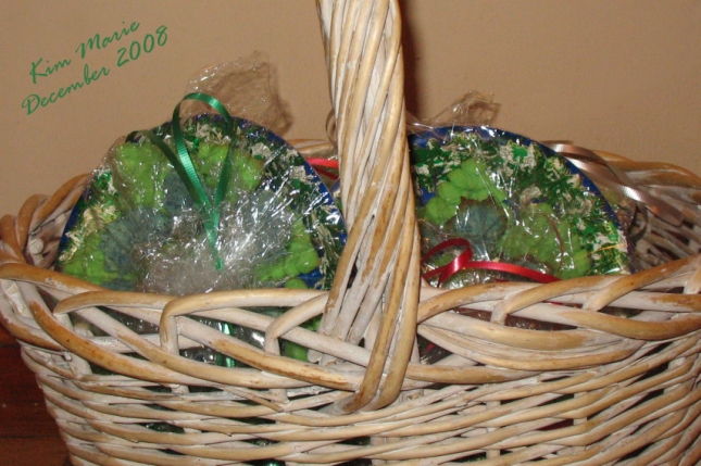 Basket of press cookies - green christmas trees - wrapped and ready for a cookie exchange back in 2008.