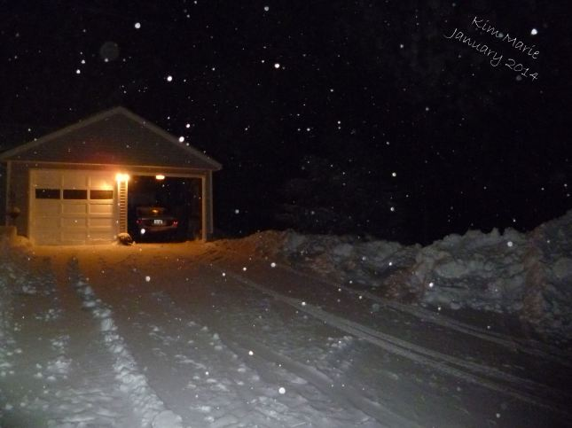 Photo of our driveway beautifully plowed! So nice and flat and high piles of snow on the side.
