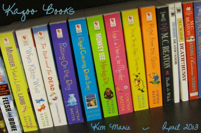 Books on a shelf at a book store - all cozy mysteries