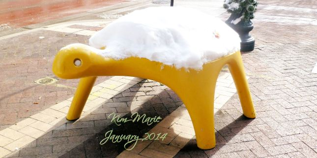 Concrete yellow turtle in downtown Kalamazoo with snow on his back.
