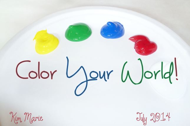 "A palette with yellow, green, blue, red, and white. It says, "" Color Your World!"""