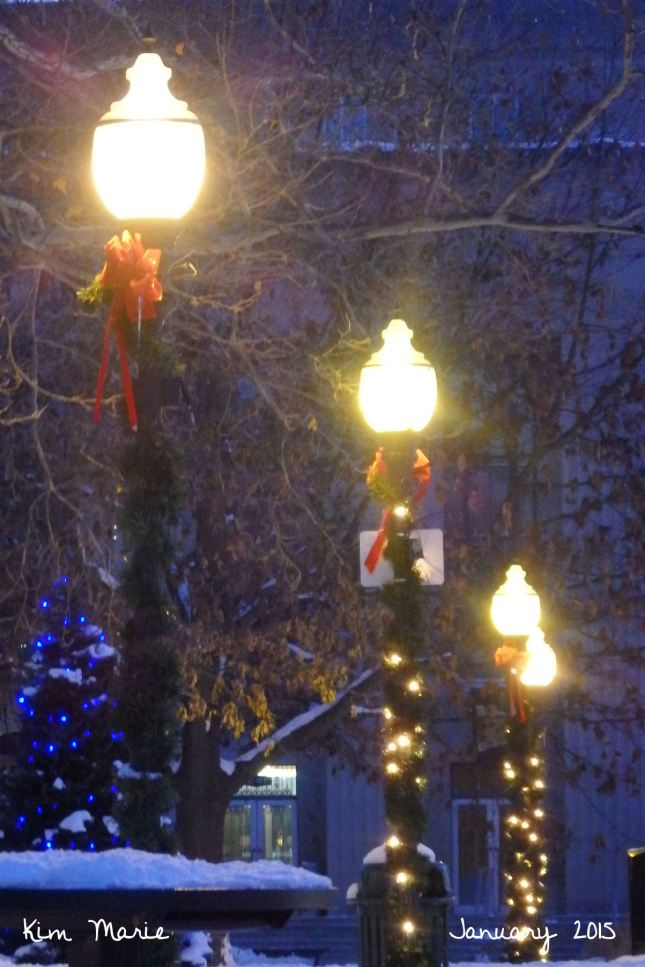 Three lamp poles decorated for Christmas in Bronson Park.