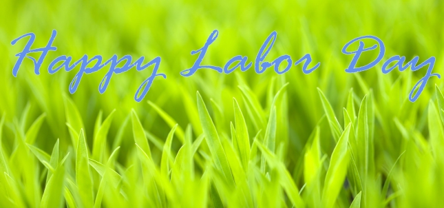 "Green grass with the words ""Happy Labor Day"" written over the grass"