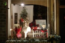Cute Christmas Shop Window in Red & White