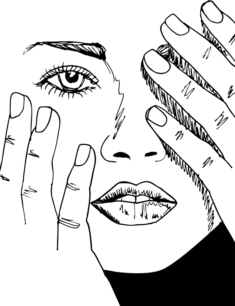 Woman with hands on her head like it hurts. Black and white drawing.